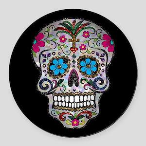 sequin Sugar Skulls Round Car Magnet