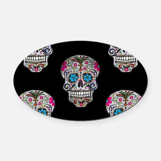 sequin Sugar Skulls Oval Car Magnet