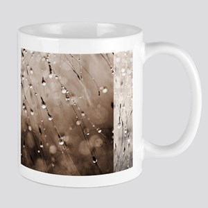 Brown Abstract Grass Dew Water Drop Droplets Mugs