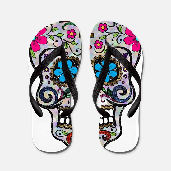 Unique Sugar skull Flip Flops
