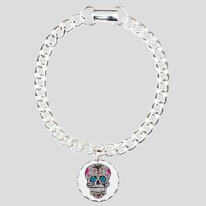glitter Sugar Skull Charm Bracelet, One Charm