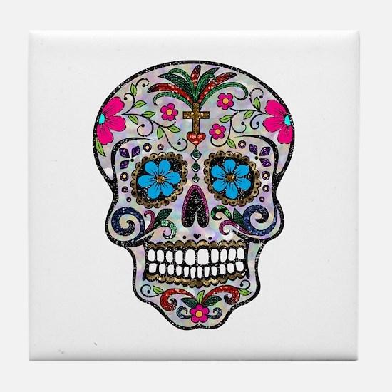 glitter Sugar Skull Tile Coaster