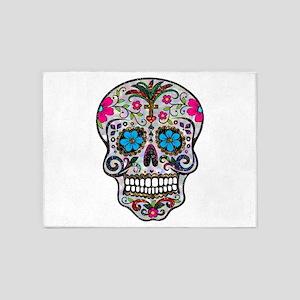 glitter Sugar Skull 5'x7'Area Rug