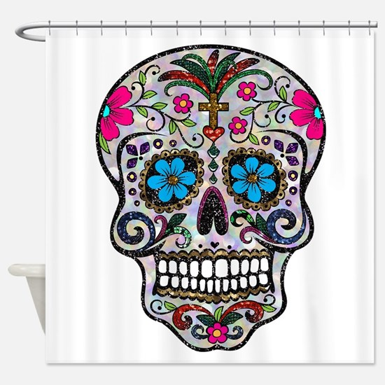 glitter Sugar Skull Shower Curtain