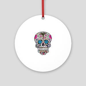 glitter Sugar Skull Round Ornament