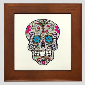glitter Sugar Skull Framed Tile