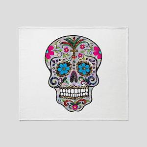 glitter Sugar Skull Throw Blanket
