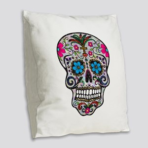 glitter Sugar Skull Burlap Throw Pillow