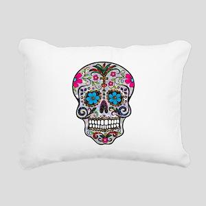 glitter Sugar Skull Rectangular Canvas Pillow