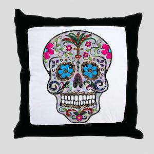glitter Sugar Skull Throw Pillow