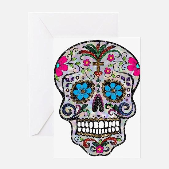 glitter Sugar Skull Greeting Cards