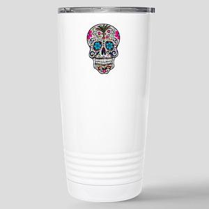 glitter Sugar Skull Stainless Steel Travel Mug