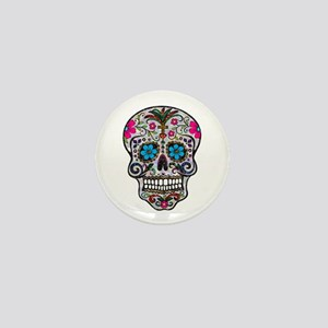 glitter Sugar Skull Mini Button