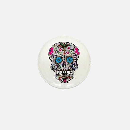 glitter Sugar Skull Mini Button