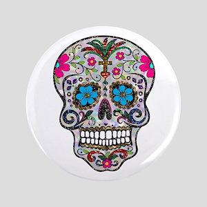 glitter Sugar Skull Button