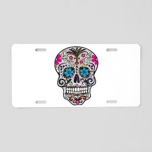 glitter Sugar Skull Aluminum License Plate