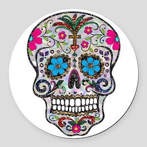 glitter Sugar Skull Round Car Magnet