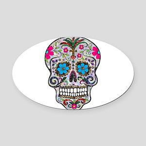glitter Sugar Skull Oval Car Magnet