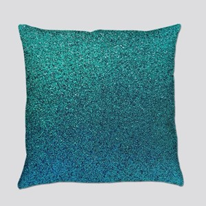 Aqua Blue Turquoise Teal Glitter B Everyday Pillow