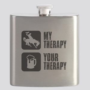 Bronc Riding Is My Therapy Flask