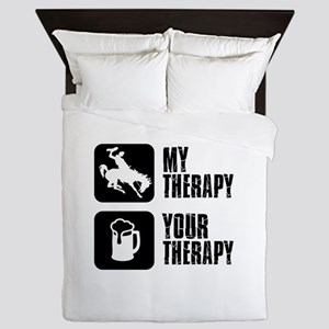 Bronc Riding Is My Therapy Queen Duvet