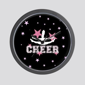 Pink and Black Cheerleader Wall Clock
