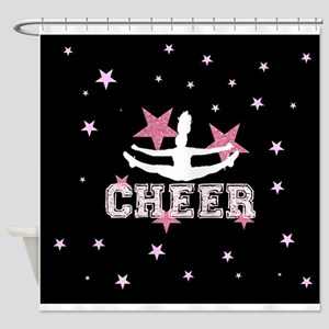 Pink and Black Cheerleader Shower Curtain