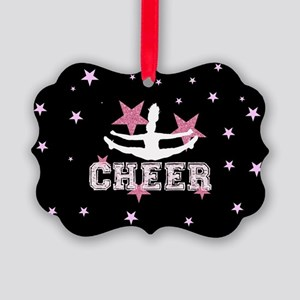 Pink and Black Cheerleader Picture Ornament