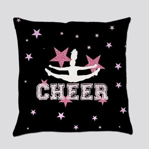Pink and Black Cheerleader Everyday Pillow