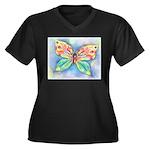 Butterfly Nymph Women's Plus Size V-Neck Dark T-Sh