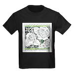 Three Linear Roses Kids Dark T-Shirt