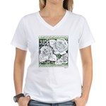 Three Linear Roses Women's V-Neck T-Shirt