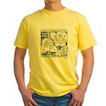 Three Linear Roses Yellow T-Shirt