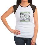 Three Linear Roses Women's Cap Sleeve T-Shirt