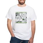 Three Linear Roses White T-Shirt