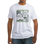 Three Linear Roses Fitted T-Shirt