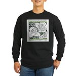 Three Linear Roses Long Sleeve Dark T-Shirt