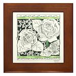 Three Linear Roses Framed Tile