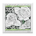 Three Linear Roses Tile Coaster