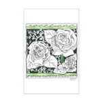 Three Linear Roses Mini Poster Print