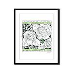 Three Linear Roses Framed Panel Print
