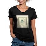 Green Rose with Border Women's V-Neck Dark T-Shirt