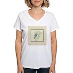 Green Rose with Border Women's V-Neck T-Shirt