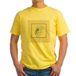 Green Rose with Border Yellow T-Shirt