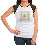 Green Rose with Border Women's Cap Sleeve T-Shirt