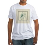 Green Rose with Border Fitted T-Shirt
