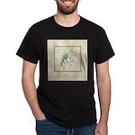 Green Rose with Border Dark T-Shirt