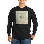Green Rose with Border Long Sleeve Dark T-Shirt