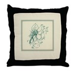 Green Rose with Border Throw Pillow