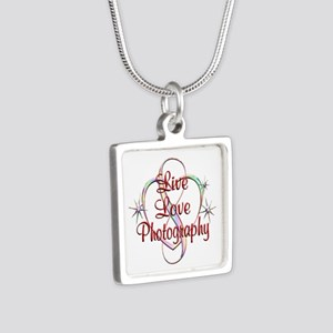 Live Love Photography Silver Square Necklace